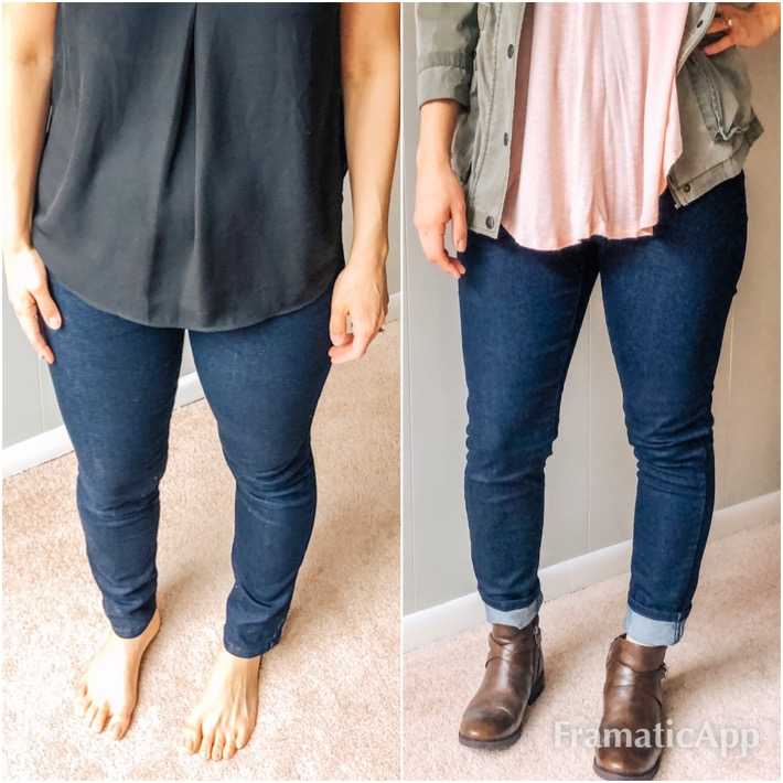 Same Target jeggings - Different angle. Slightly different representation of my body. I think the picture on the right more closely represents what these jeans actually look like on me.