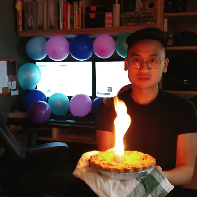 Nam is one of the directors here at Makeshift and today is his birthday! A little surprise to make him more productive: balloons taped to his desk and 27 candles lit together in a pie. We thought it was nice, he didn't agree.  #studio #toronto #coworking #collective #makerspace #igerstoronto #makeshift #wemakeshift #officepranks