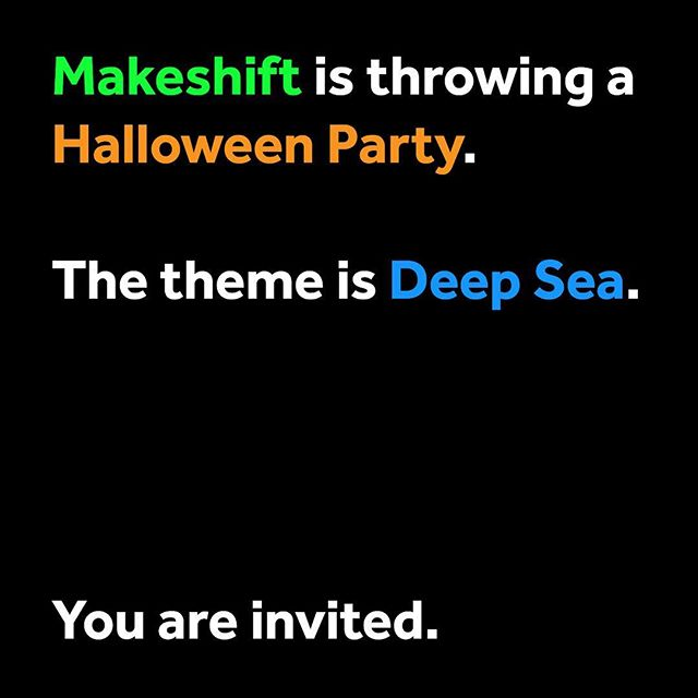 🎃FRI OCT 26 // 9PM-3AM🎃 - Disappear into a void of Chinatown for Makeshift Collective's annual HALLOWEEN PARTY! We are opening up our studio to celebrate with you a night of underwater projections. This year's theme is DEEP SEA, in case you need inspiration for your costume! - Hope to see you there!  #halloween #party #deepsea #happyhalloween🎃 #makeshift #wemakeshift #collective #igerstoronto #studio #installationart #destress #funtimes😎