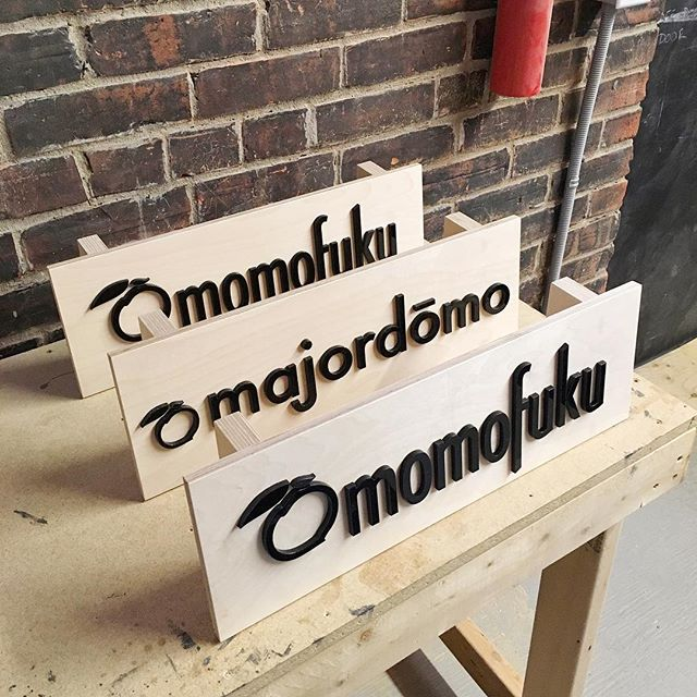 A few trade show signs for @momofukulasvegas @momofukudc and @majordomola  #signage #tradeshow #luckypeach #lasercutting #plywood #woodshop #woodworkingcommunity #makersmovement #woodlovers #makerspace #woodcraft #makeshift #wemakeshift #igerstoronto