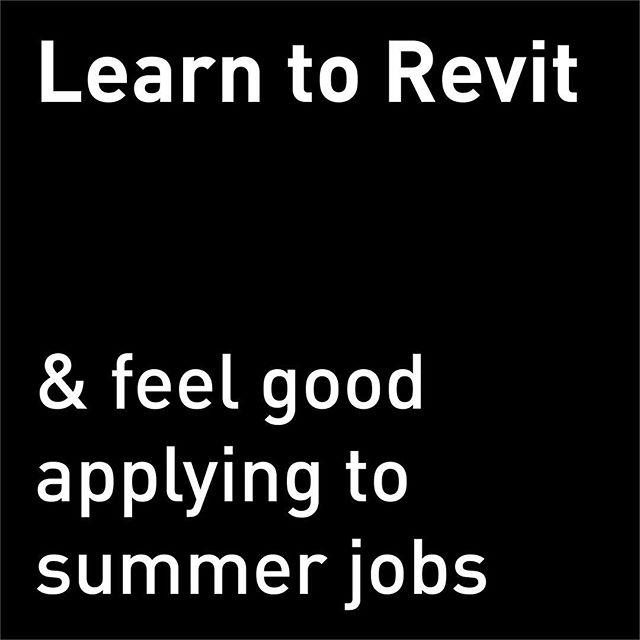 Don't know Revit? That's ok. Want to learn it? Probably not. Do you need it to get a job? Maybe. - For those of you feeling insecure about your Revit skills, Makeshift will be holding a BEGINNER workshop on Revit Architecture 2019 on Sunday, January 27 from 1-5pm. This will be an overview course covering everything you need to know to at least look like you know what you're doing at work. You will not need any prior knowledge but you do will need to bring a laptop with Revit 2019 installed. Tix are available on Eventbrite (Link in bio). See you there?  #summerjob #makeshiftlearning #revit #bim #architecturefirm #workshop #wemakeshift #seeyousoon