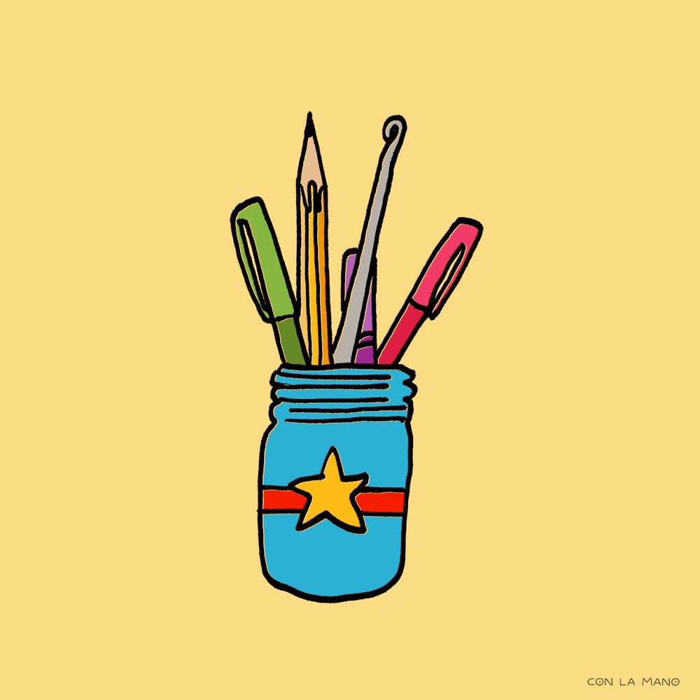 CREATE  tools/ pen, pencil, crochet, jar, creator, creation, maker, illustrator, artist.
