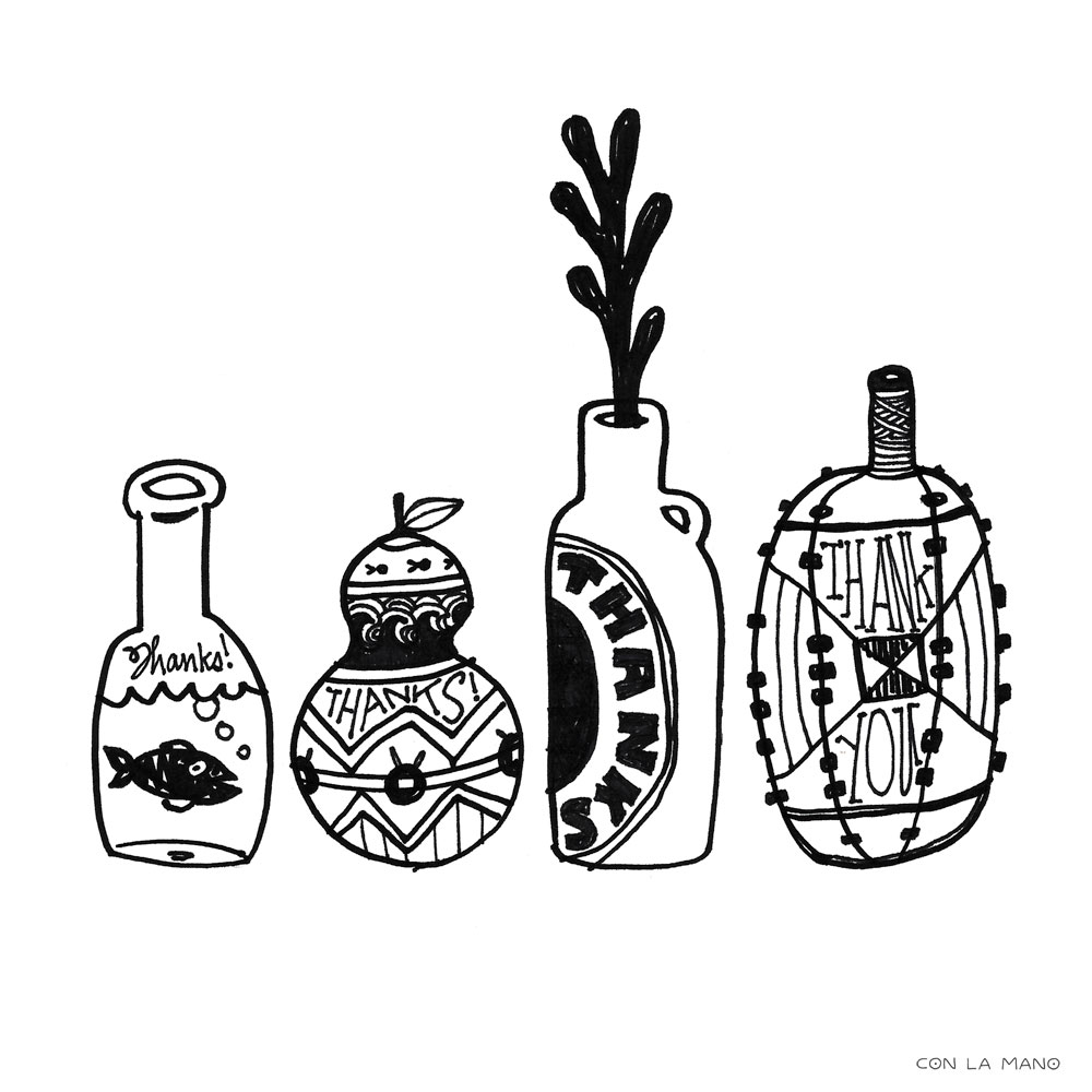 THANK YOU  mood, line, drawing, nautical, fish, thanks, appreciation, bottles, black and white.