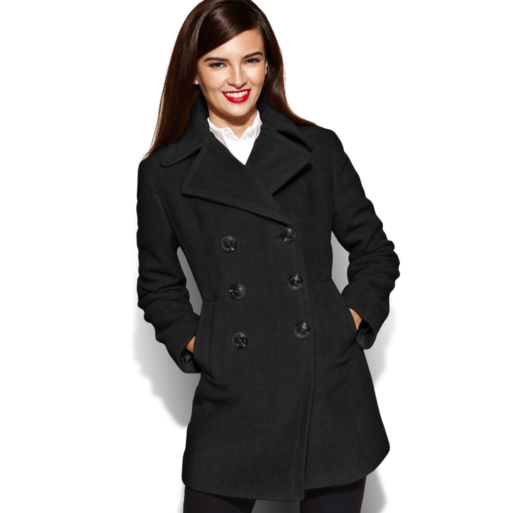 Double Breasted Black Peacoat- $119
