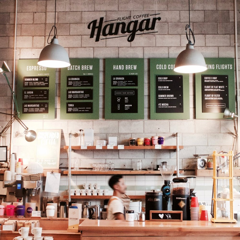 THE FLIGHT COFFEE HANGAR   The Hangar is the flagship cafe of Flight Coffee.  As well as their fabulous coffee, The Hangar is (unlike our other picks) licensed - and it serves breakfast, brunch and lunch every day of the week.  Serves: Flight (Wellington)  119 Dixon St, Te Aro.  Open 7am-4pm Monday-Friday and 8am-5pm Saturday-Sunday.