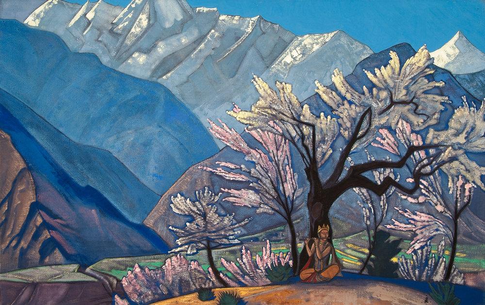 Krishna Spring in Kullu  by Nicholas Roerich, Source: https://www.wikiart.org/en/nicholas-roerich/krishna-spring-in-kulu-1930