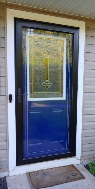 """Salty Dog"" on our door, We are loving it with our new black storm door:)"