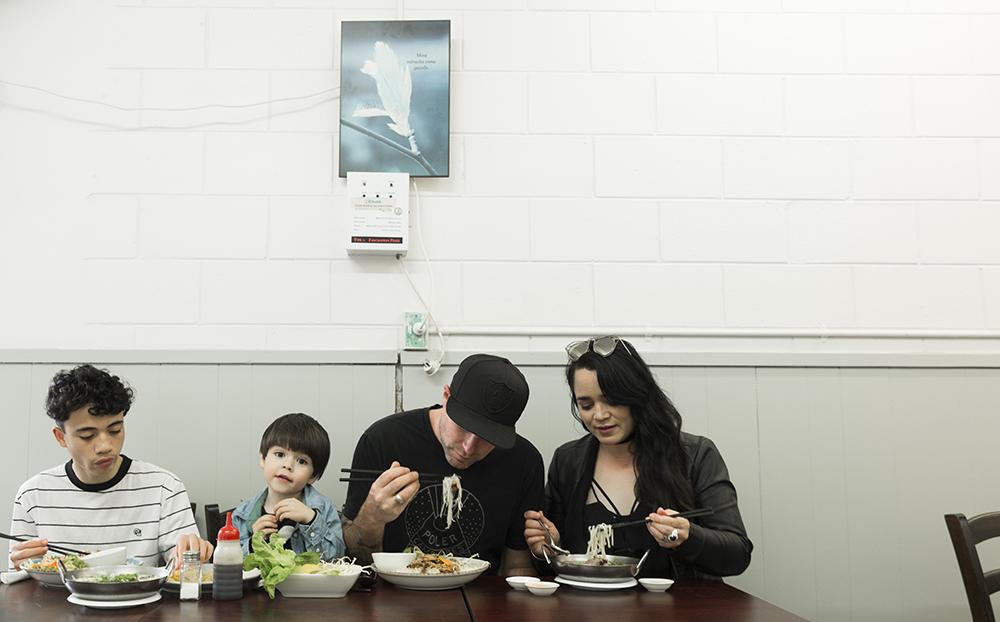 Family shot in restaurant