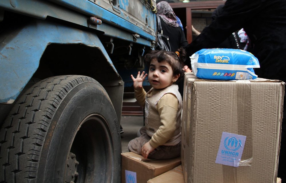 Lebanon. UNHCR supply truck in Tripoli