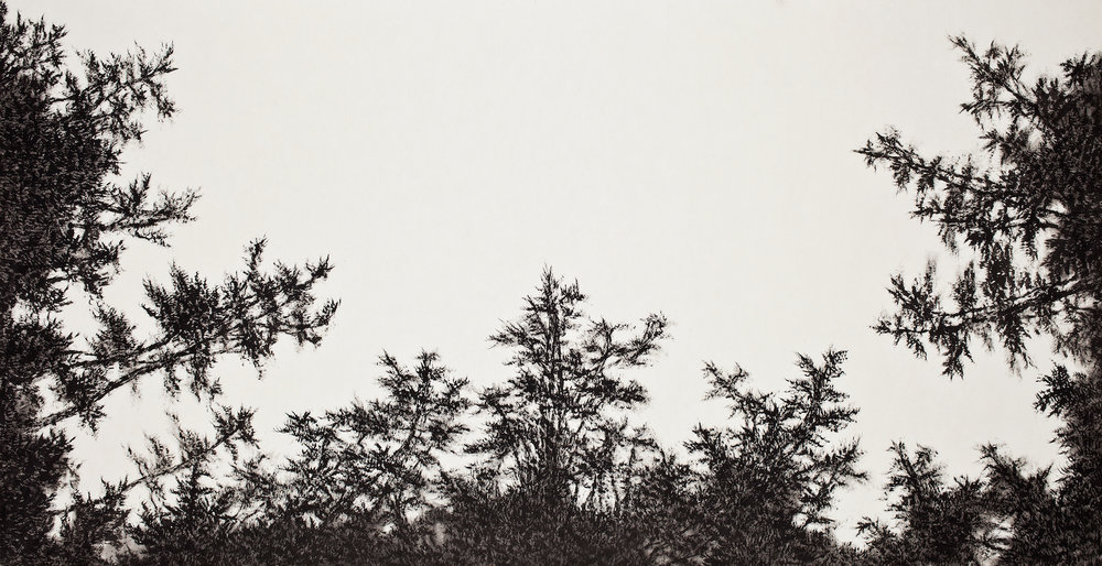 LISTEN FOREST201502 , 143x74cm, Ink on koreanpaper , 2015.jpg