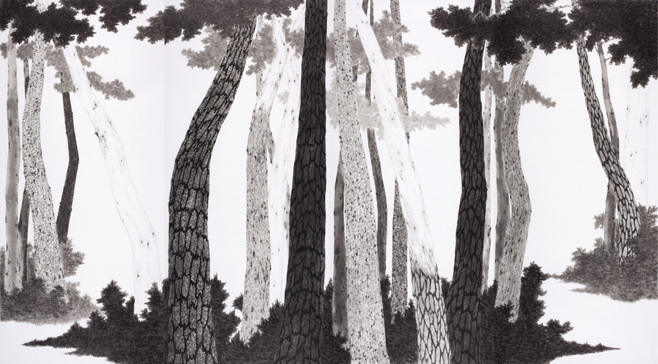 Forest_See Myself2014, 360 x200cm, Ink on Koranpaper, 2014.png