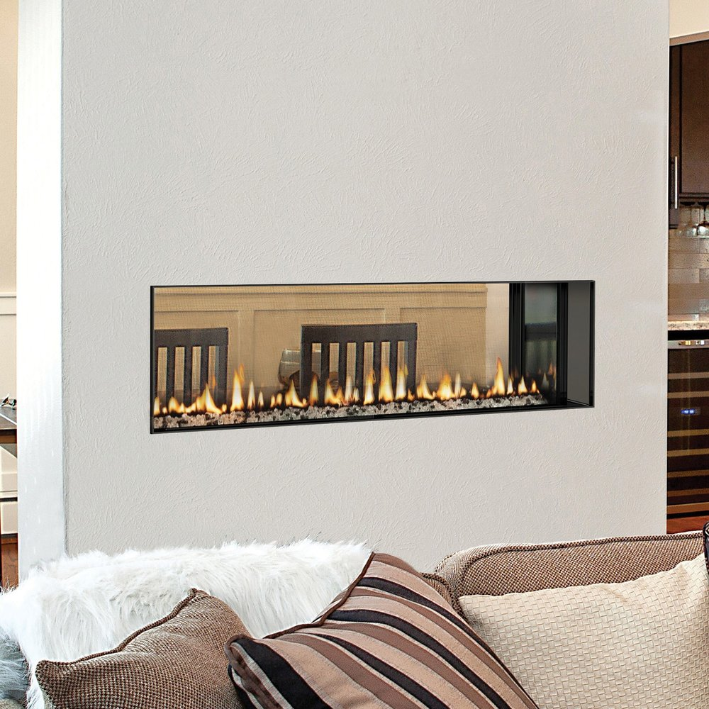 The HearthStone Gemini 48, 60, or 72 gas fireplace.