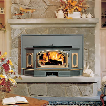 The Lopi Freedom Bay wood insert is available at Ferguson's Fireplace & Stove Center.
