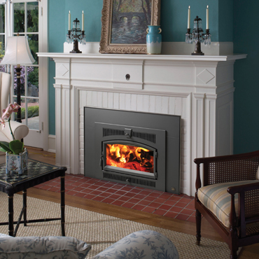 The Lopi Flush Wood Plus Arched wood insert is available at Ferguson's Fireplace & Stove Center.