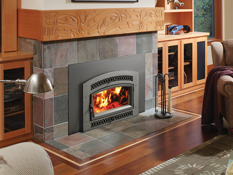 The Fireplace Xtrordinair 33 Elite Flush Wood Plus wood insert is available at Ferguson's Fireplace & Stove Center.