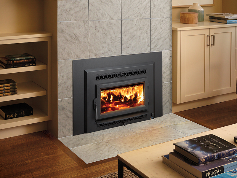 The Fireplace Xtrordinair Small Flush Wood Hybrid-Fyre™ Insertr wood insert is available at Ferguson's Fireplace & Stove Center.
