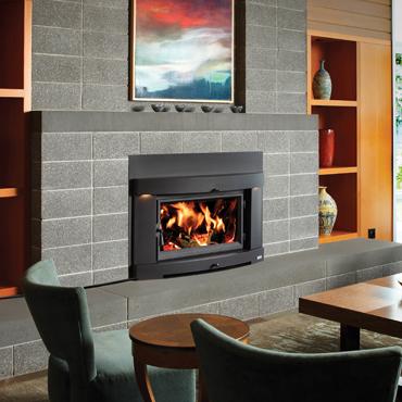 The Avalon Large Flush Hybrid-Fyre Insert wood insert is available at Ferguson's Fireplace & Stove Center.