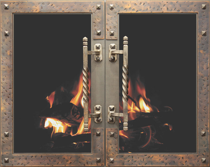 Stoll Industries | Vintage - Strong steel layered with distinguished copper accents give an ageless look to this highly architectural door.DESIGN: HAND HAMMEREDFRAME SIZE: 7GAOPTIONS: Large Rustic Handles and Hidden Frame