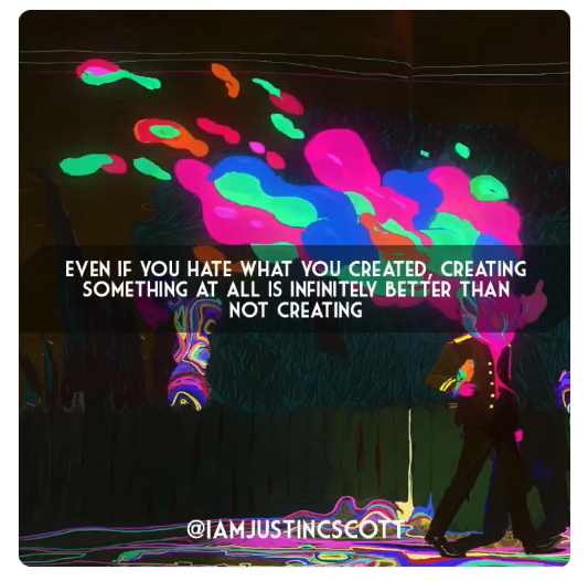 Humans were made to create Everything around us is a result of another person or people taking the time to make something from nothing  And that's incredible, when you really stop to think about it  -  Justin C Scott