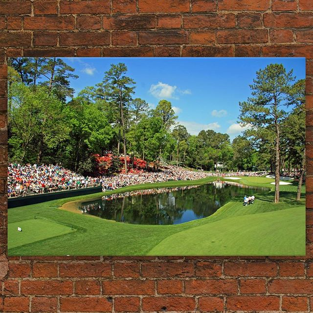 With @themasters approaching, we turn to #ArtToDreamFor artist #TomGuina who shot this at Augusta National Golf Club, the site of last year's tournament ⛳️⠀ —⠀ 16th Hole at The Masters ⠀ 11 x 14 in. Printed on Metal⠀