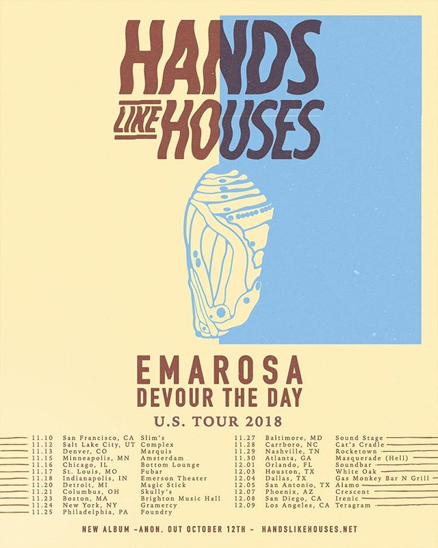 So thrilled to be sharing the stage with these incredible bands!! @handslikehouses @emarosa and #devourtheday is such a unique experience! Tickets on sale Wednesday @fearlessrecords @razorandtie