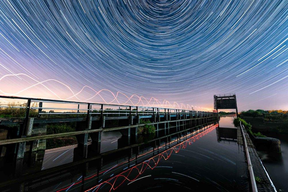 Jonathan Lodge  Star Trails over the Aqueduct