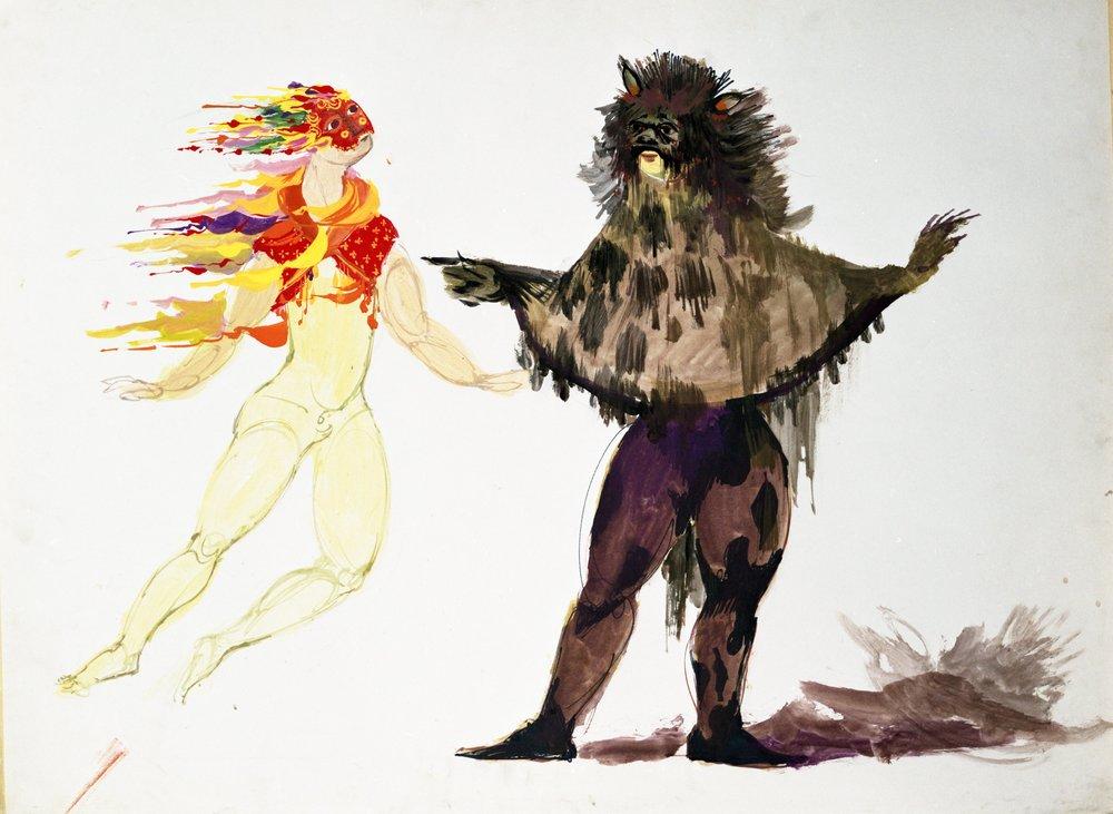 Wiinblads kostumer til Ariel og Caliban til Shakespeares The Tempest,Dallas 1965.