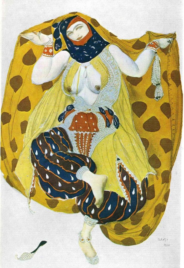 Kostume af Leon Bakst til balletten Scheherazade.