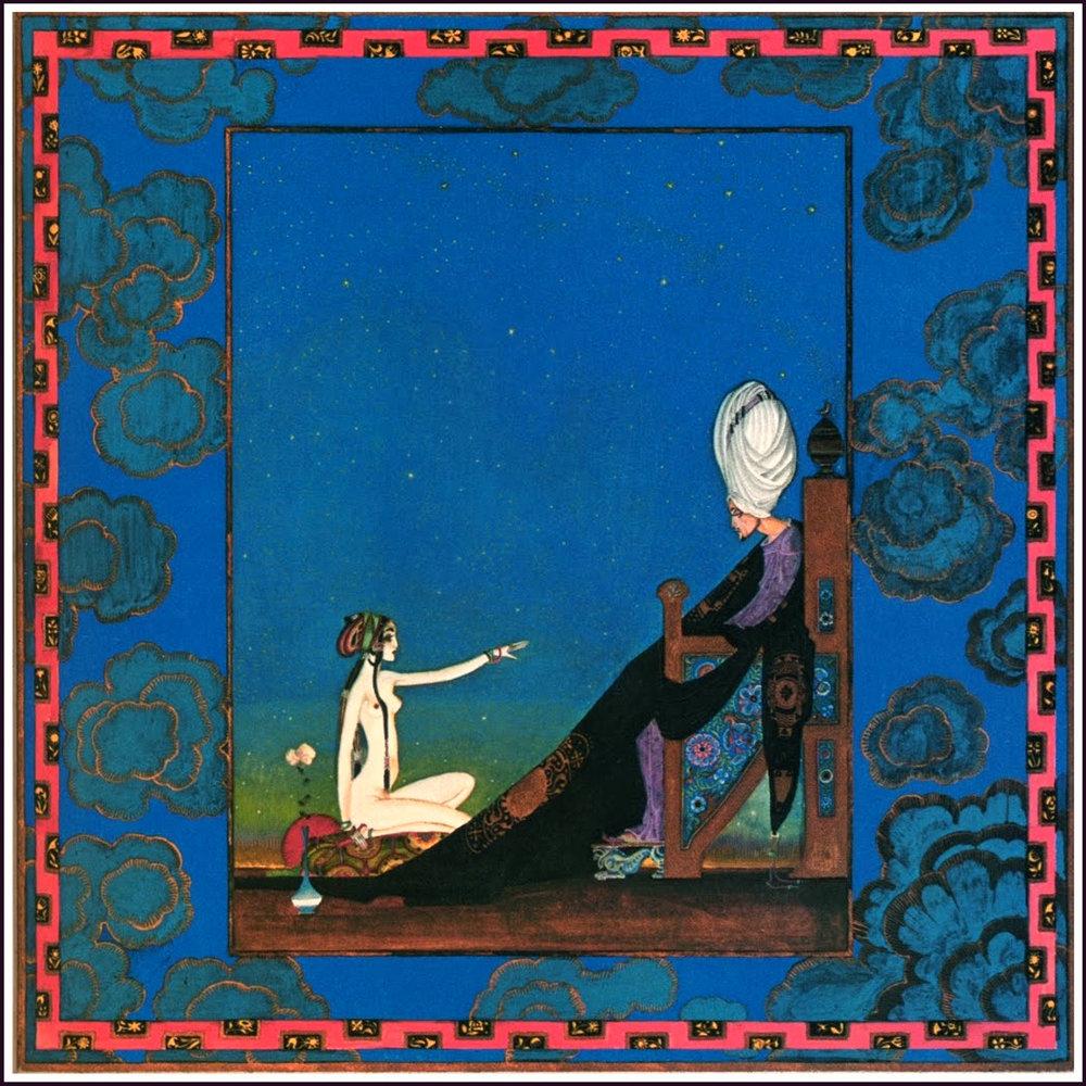 Illustration til 1001 nat af Kay Nielsen: Scheherazade holder kongen hen med sin fortælling, så han ikke nænner at dræbe hende.