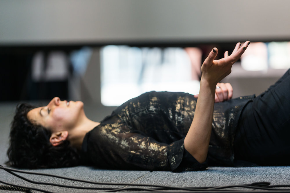 Tighten your hands into tight fists ~As you release the tension, let that resonate throughout your body. Follow the release until it settles into a neutral stance. - Task Leyya Mona TawilPhoto Doug Coombe