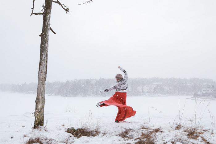 Dance in order to communicate to someone standing on the other side of a huge snowy field… - Task Leyya Mona TawilPhoto Elisa Kaurala