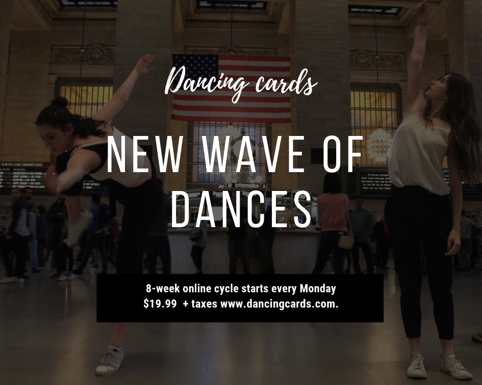 Join the New wave of dances - $19.99 8-week cycle, includes 8 lesson plans with new dance tasks, participation towards co-creative dance with your students. One package per group up to 20 dancers. Extra $9.99 for 10 more students. Email to order: heidi@dancingcards.com. Include information about your dance studio and/or classes you teach.If you plan to teach the Dancing cards co-creative class for children under the age of 16, consult with us before purchasing.