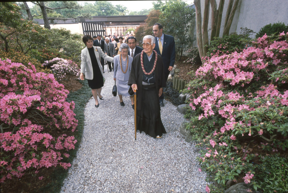 Saburo Kato at the dedication of the Kato Family Stroll Garden.