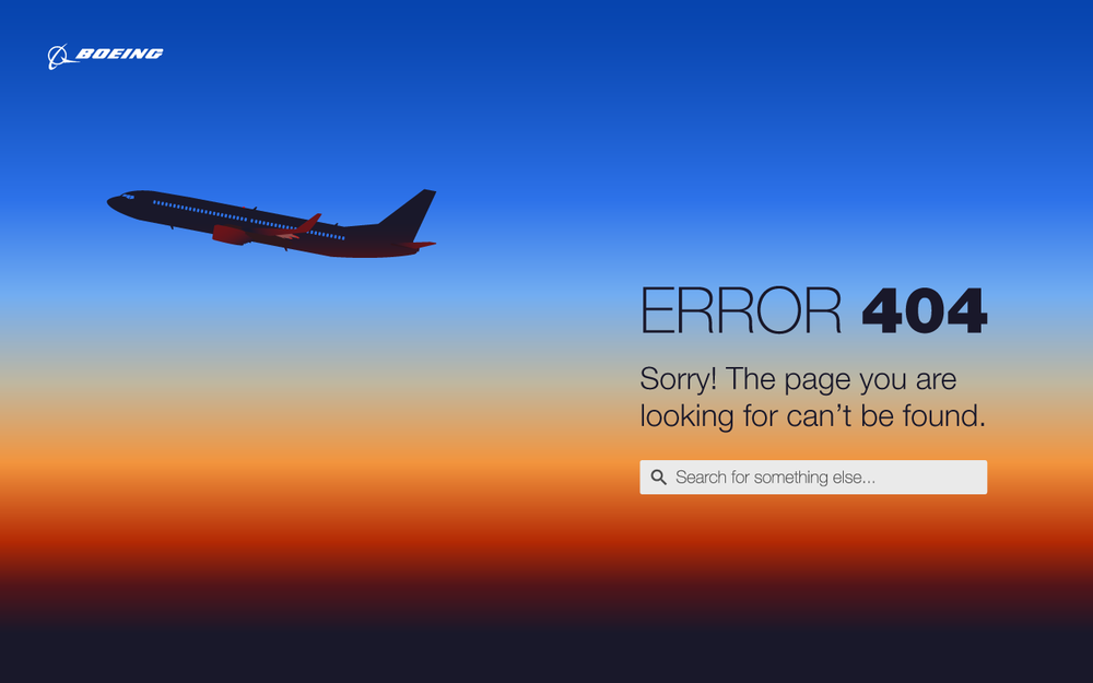 Boeing | Error Page A - During a revamp of Boeing's online application design standards, one of the topics was error pages. I designed these modern/creative approaches to keeping users informed.