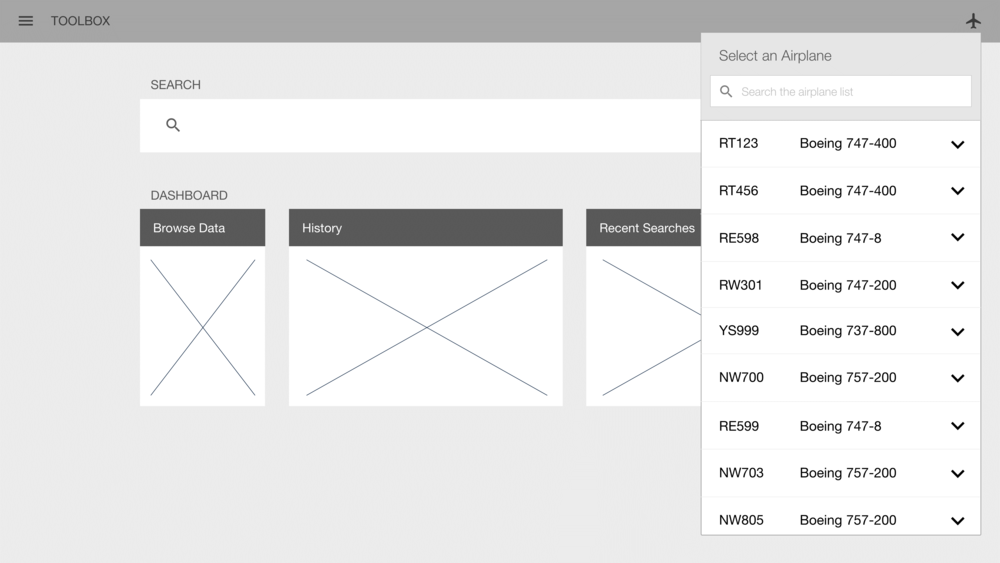 A wireframe from the header bar workflow