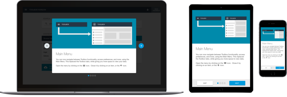 An example of a responsive onboarding experience across various breakpoints.