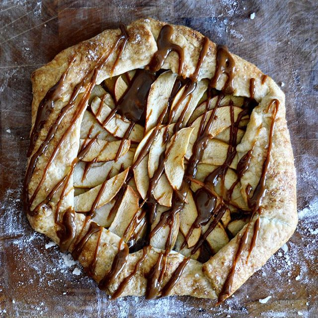 Caramel Apple Galette- caramel made with our unrefined Colombian Panela sugar. May have gone a little overboard with the caramel... #apple #galette #panela #caramel #falldesserts #sweet #pie #madisonwi