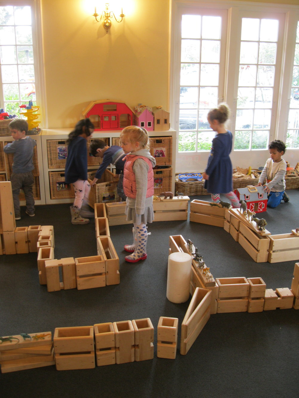 Block Room   Block building bridges the world of pretend and reality. It provides for spatial relationships, opportunities for sharing and develops large and small muscle control