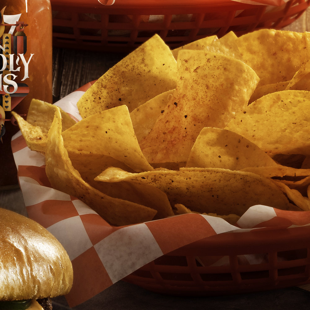 7 DEADLY CHIPS & QUESO - FIRE SPICED NACHO CHIPS Served with inferno cheese sauce