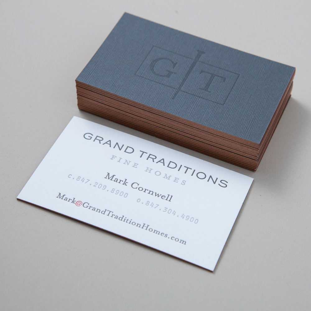 Letterpressed duplex business cards with metallic painted edges