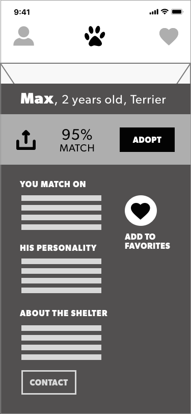 Once the user clicks on the name of the pet or the match % the entire section would expand with important info about the pet.
