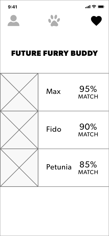 List of favorites is ordered by match % to help the user prioritize their matches.