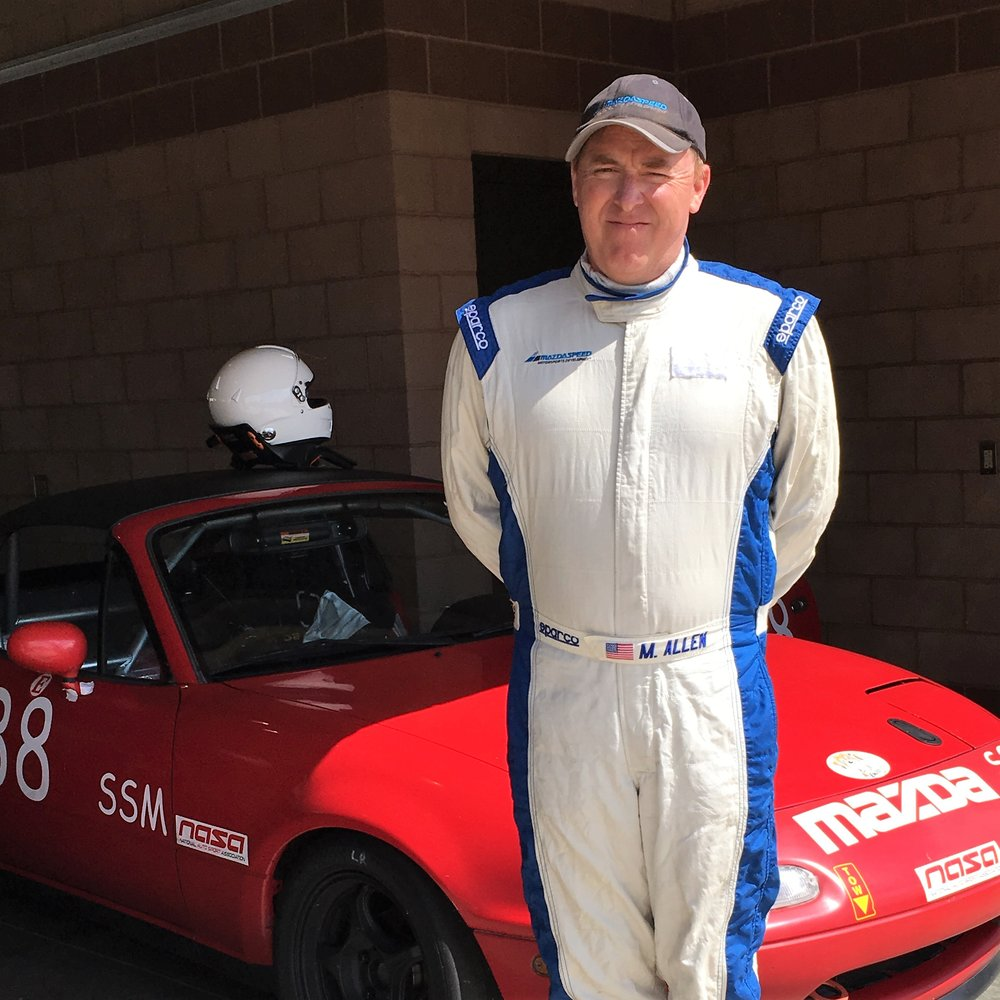 Mike Allen   Mike's passion with motorsports began with the IMSA racecars of the 1970s, '80s and '90s that were powered by the Mazda rotary engine. His interest with the rotary was so strong that it brought him to Mazda North America, where he began his automotive career in 1988 and continues to work to this day.   Mike joined Robert Davis Racing in 2010, when he built his 1990 Spec Miata that he races with NASA and most recently in vintage racing. In addition to driving, Mike also builds and modifies vehicle powertrains for competition.   Mike is married, has a 17-year-old son and currently resides in San Clemente Calif.