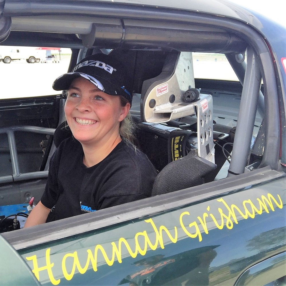 "Hannah Grisham    Nickname:   The Closer, Hannah-Zilla   Hometown:   Glendora, California   Racing History:   Driving since age 3, riding motorcycles since age 4, racing karts since age 6.  250 + races with IKF, SKUSA, So-Cal Sprinters, LAKC, WKA, SDKA, Tri-C, NASA, TMC and others, including 125 cc TAG, Shifter and Spec. Miata  Coached by Stephen Clark, Troy Adams, Phil Giebler and James Brown   Awards/Achievements:   2015 Recipient of the Lake Speed Achievement of Excellence in Karting Award.  3 Class championships, 5 runner-ups, many top 5's.  IKF expert/2-time national champion.  So-Cal Sprinters Driver of the Year Award and High Point Eagle   Sponsors:   Morning Star Racing, RLV, Mack Motorsports and Merchant Services   Hobbies:   Motorcycle riding, water polo, swim, deep-sea fishing and horses   Fun Facts:   Varsity swim and water polo beginning sophomore year, honors/AP student, member National Honor Society  Hannah has been featured on television, radio, newspaper and online news stories multiple times   Car Builder:   Morning Star Racing   Car Type:   1999 Mazda Spec Miata   Engine:  1.8 liter, 4 cylinder   Favorite Racing :  One of my favorite things is on those occasions I find myself starting from the back!   It makes racing even more exciting and challenging.  It's so much fun to pass as many as you can as quickly as you can!!  I got my nickname ""the Closer"" in karting because of such situations.    2016 Season:   First year in sports cars. Raced Spec. Miata with NASA So. Cal. and Teen Mazda Challenge under the Morningstar Racing banner. After quickly obtaining her NASA competition license Hannah completed her rookie year finding both the podium and ultimately 8th place overall in TMC West, 8th place overall in NASA So. Cal. and a 9th place finish overall and the highest placing rookie at the NASA Western States National Championships.   2017 Season:  Continued Spec. Miata in the NASA So Cal. and Teen Mazda Challenge with Morning Star Racing.  3rd. place overall in TMC West and 2nd place in the NASA So. Cal. Series. 2017 shows 16 race starts and 8 podiums.          Aspirations:   I will continue to race sports cars and want to move up the Mazda ladder system beginning with being invited to the 2019 Mazda Shootout.  From there, I intend to compete successfully in any/all forms of racing including the Mazda Motorsports Ladder and other open and closed wheel competition."