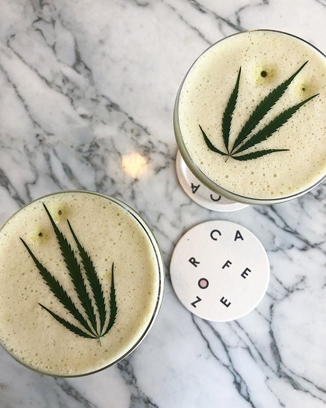 Always a good idea to calm a crazy day with a CBD night cap. Our collaboration cocktail 'The Gateway' with @caferoze featuring our fresh juiced hemp leaves and a dose of our CBD. Come give it a try at our event with @spaceykacey this Thursday at @appleandoaknash 🌿