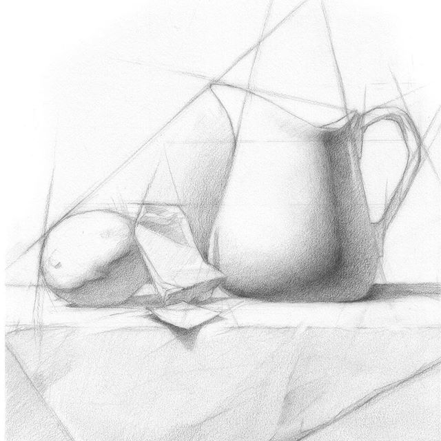 """This is a sample still life I made for the new book by @juliettearistides Beginnig Drawing Atelier. My composition focused on harmony and proportions. There is some rendering, but the piece was mostly about the block-in stage. It was done with #pencil on Stonehenge #paper. 8x10"""". #stillife #classicaldrawing #classicalart #tea #lime #composition #drawing #layout #art #illustration #seattleartist #ovidiocartagena #cartagenart"""