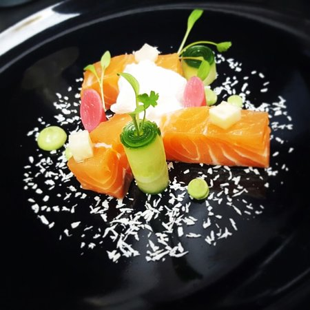 Pickled salmon with coconut cream, pistaccio and sweet & sour vegetables