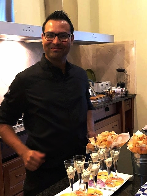 Chef Dhanesh preparing pre-dinner crisps and dips