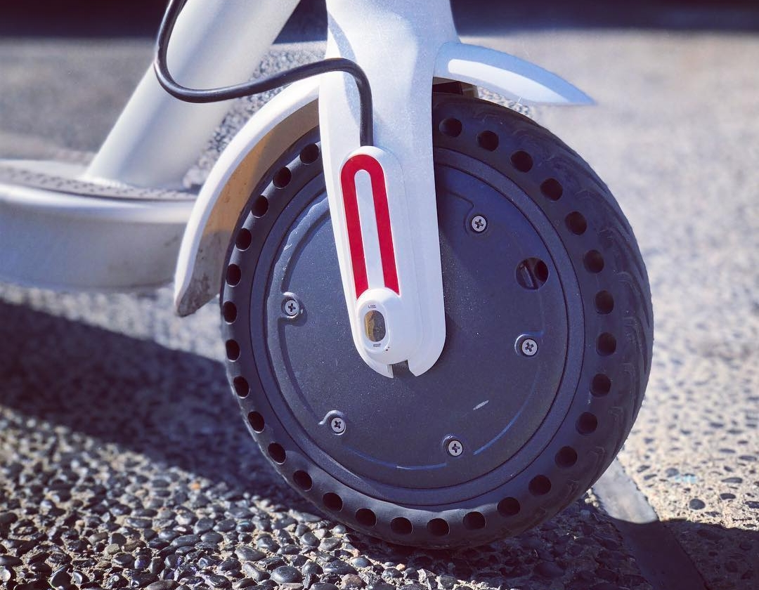 Solid rubber honeycomb tires on scooter