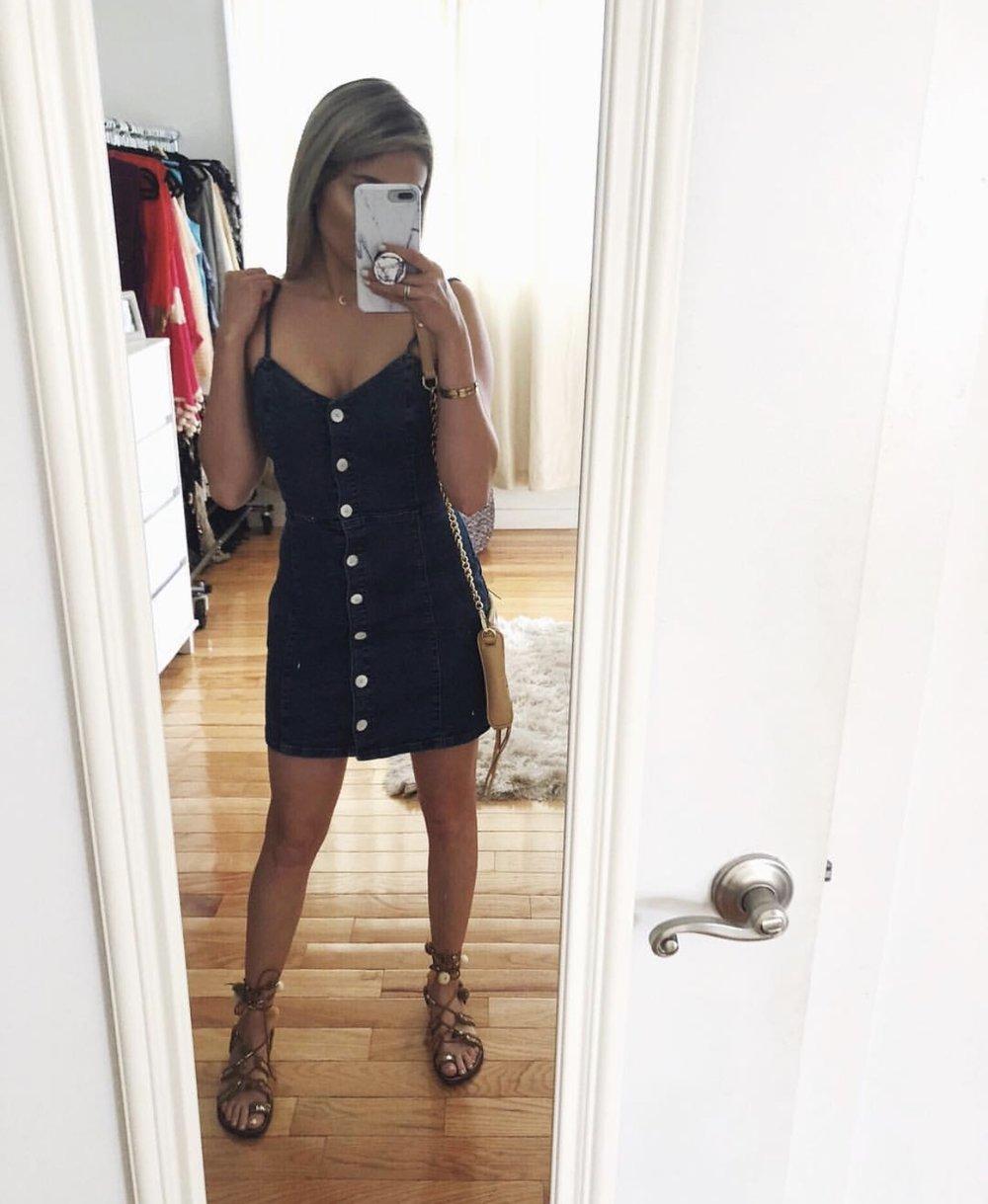Recreate the Look: - Dress: ZaraCrescent Moon Necklace: DFTI BoutiqueCrossbody Bag: Rebecca MinkoffShoes: Sam Edelman